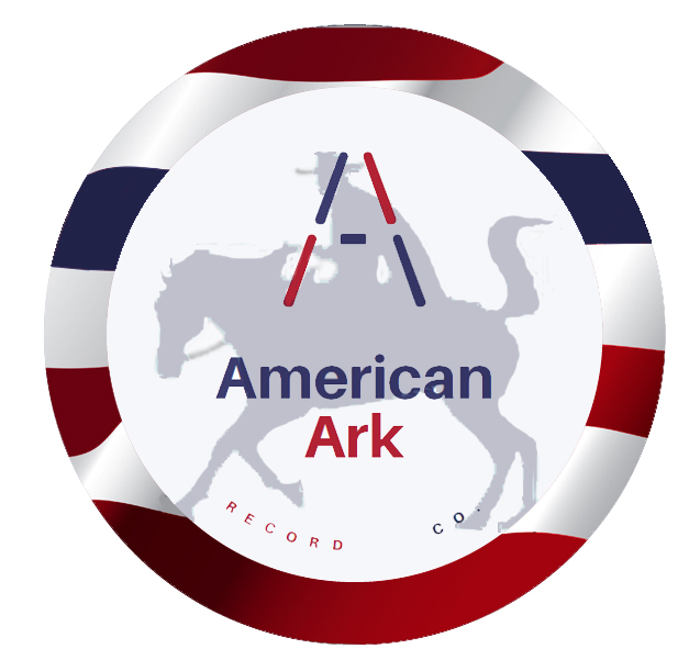 American Ark Record Logo with flag colors around the edge and an A in the top center with a cowboy and a horse in the middle of the circle and the company name spelled out.